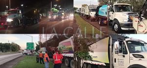 57 camiones de ConWaste llegan esta madrugada a Mayagüez para limpiar la ciudad (Vídeo)