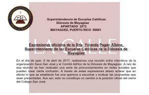 """Superintendente de Colegios Católicos del Oeste le envía """"reality check"""" a padres del Colegio San José de San Germán"""