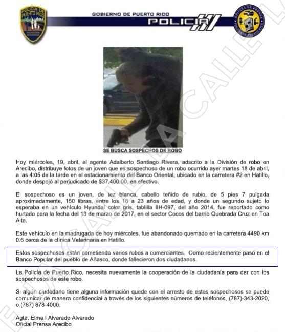 Informe oficial de la Policía de Puerto Rico (Suministrado).