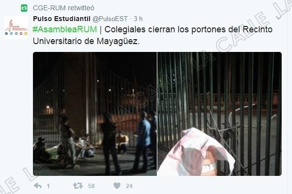 Los portones del RUM amanecieron cerrados el viernes (Foto Twitter/Pulso Estudiantil).