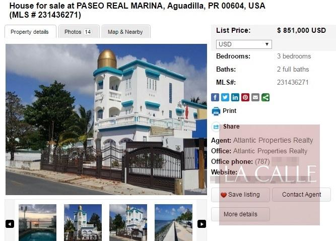 La residencia del alcalde Carlos Méndez Martínez figura en venta a través del Internet (Captura de pantalla).