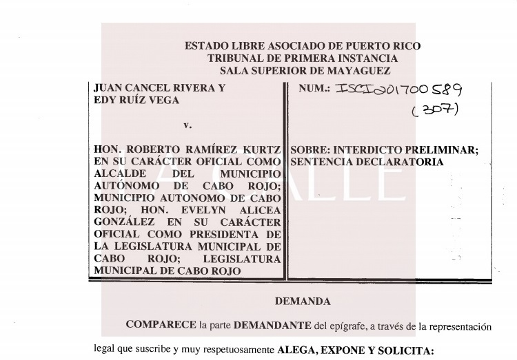 Epígrafe de la demanda radicada contra el Municipio de Cabo Rojo (Suministrada).