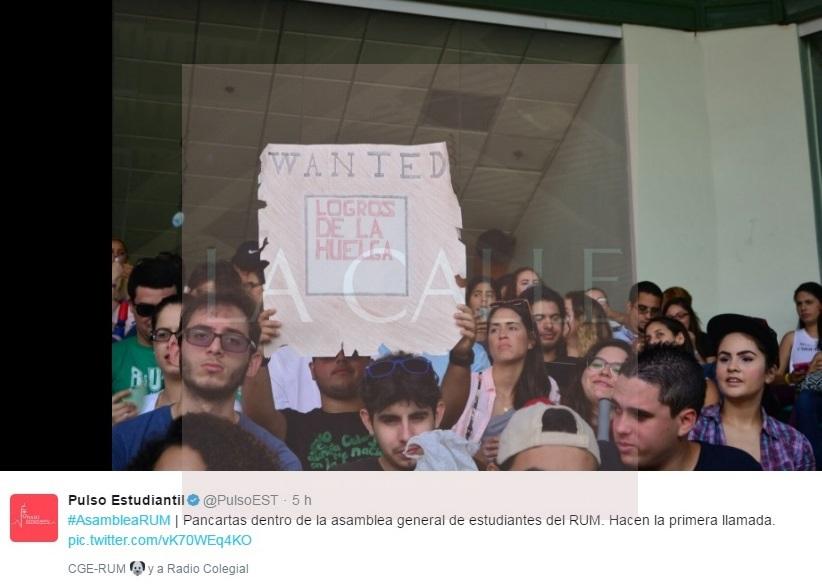 La huelga terminó sin condiciones (Foto/Twitter-Pulso Estudiantil).