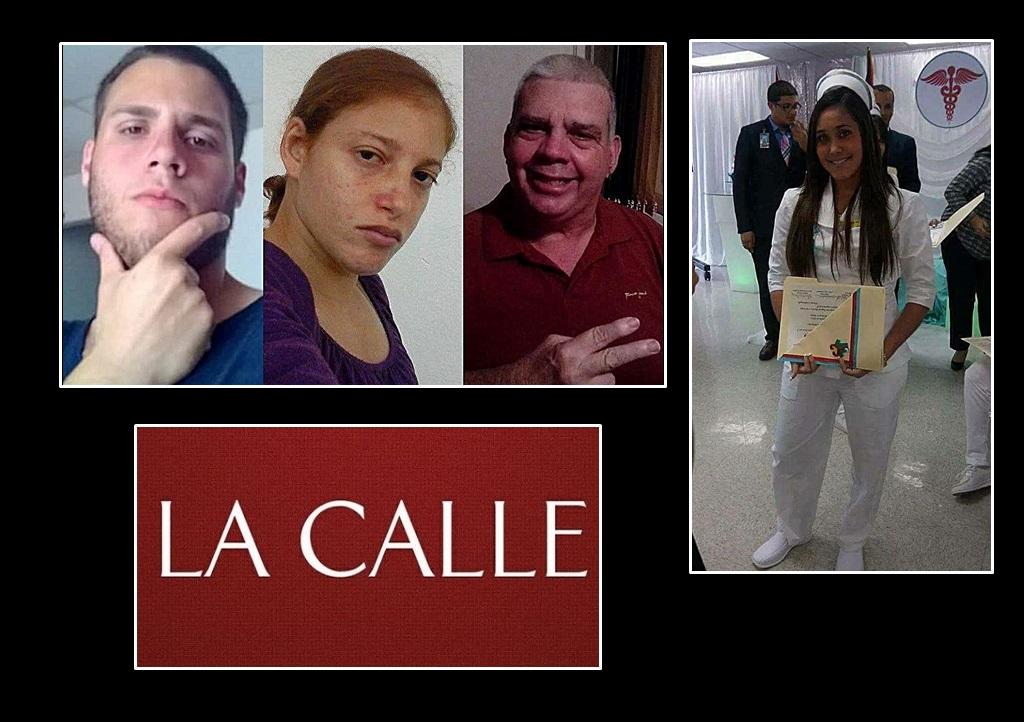 """En la foto, desde la izquierda, Guillermo Cummings Vélez, Yamaris Lugo Rivera y Guillermo """"Guillo"""" Cummings Irizarry. A la derecha, la asesinada enfermera Maritza Rodríguez Morales (Fotos/Facebook)."""