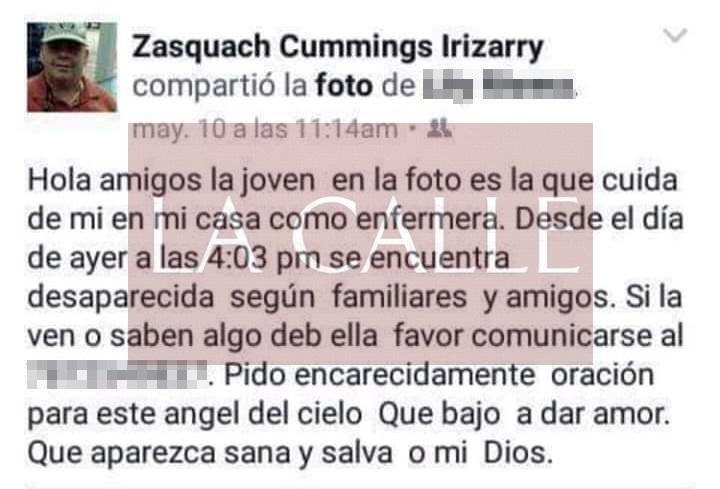"""Lo que escribió en su """"status"""" de Facebook uno de los sospechosos del crimen (Captura de pantalla/Facebook)."""