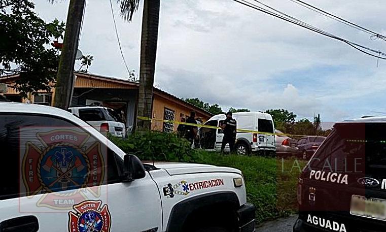 Escena del incidente en el que se reportó un herido de bala en Aguada (Foto/Rescate Cortés).