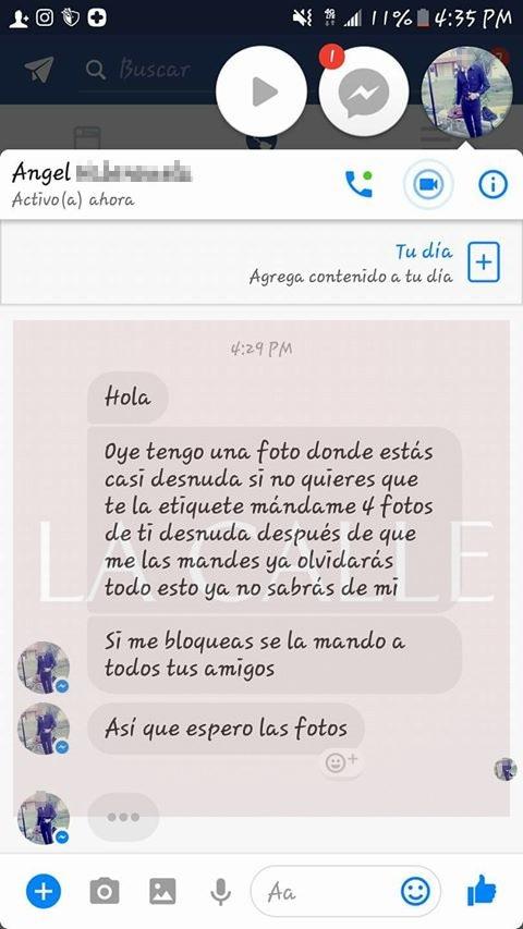 Captura de pantalla de un mensaje enviado a una joven residente en San Germán (Suministrada).