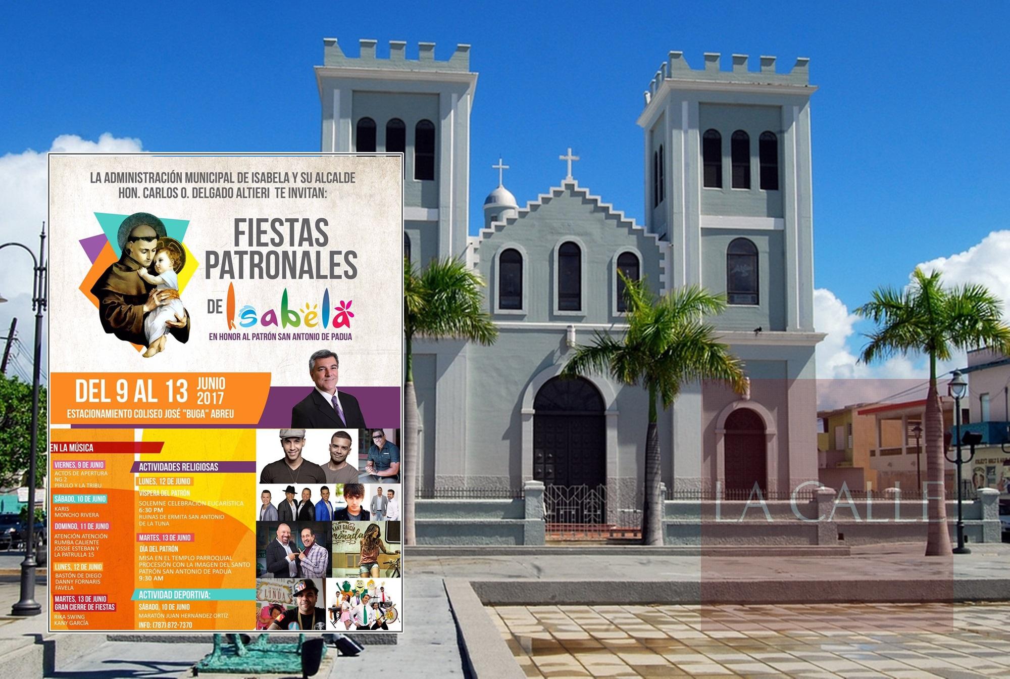 """Vista de la iglesia de Isabela y el programa de las Fiestas Patronales 2017. Haga """"click"""" sobre la imagen para ampliarla (Suministradas)."""