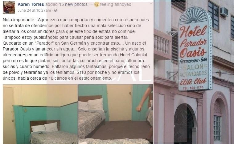 Captura de pantalla de lo que escribió una dama de nombre Karen Torres, tras hospedarse en el hotel Oasis de San Germán.