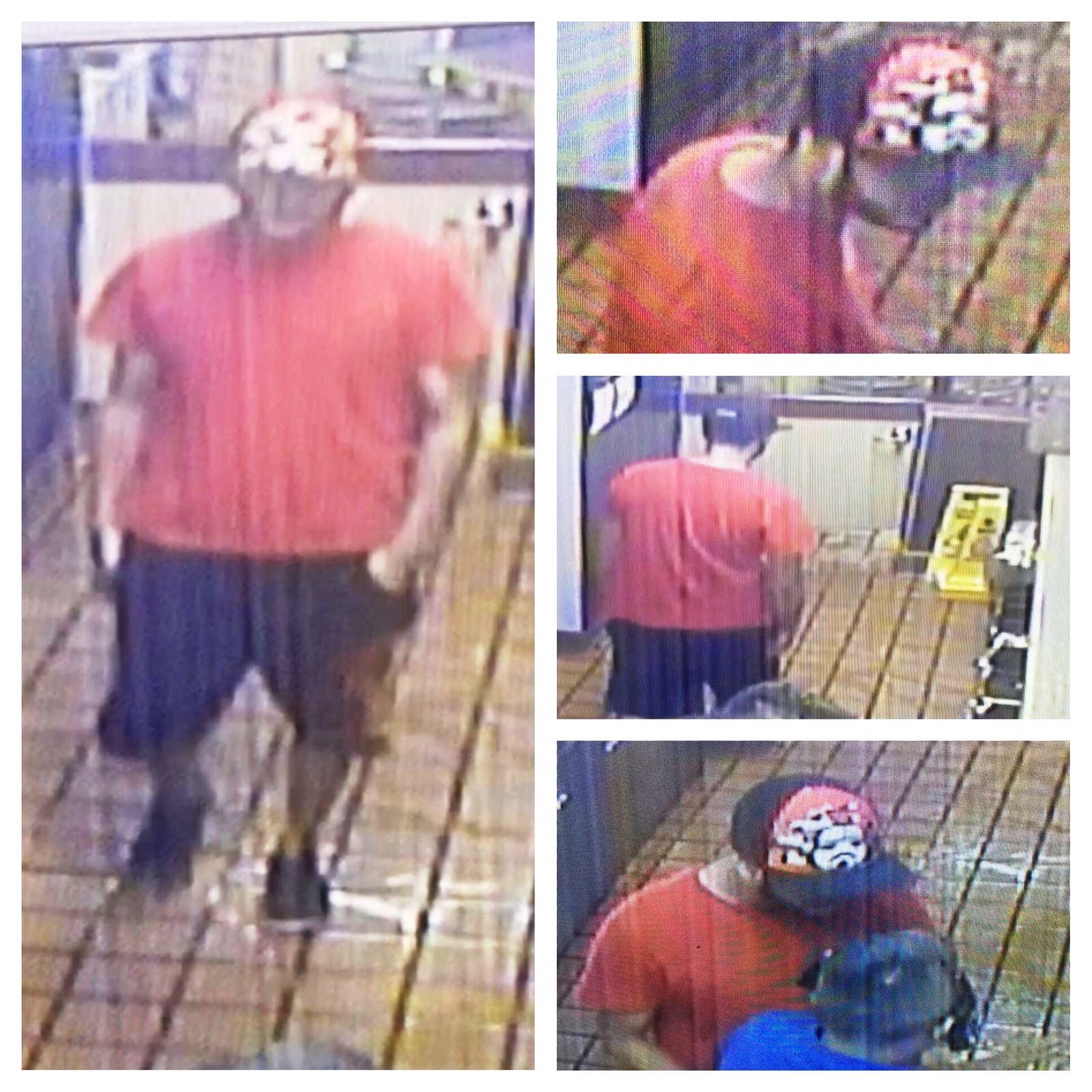 El ladrón intentó ocultar su rostro de la cámaras de seguridad usando su gorra (Suministrada/Policía).