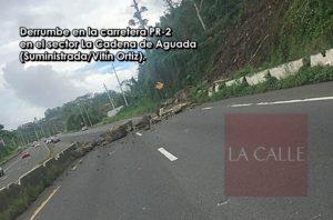 """Derrumbe provoca monumental tapón en la """"Cuesta de la Cadena"""" en Aguada"""
