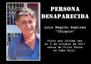 Buscan septuagenario desaparecido desde principios de octubre en Cabo Rojo