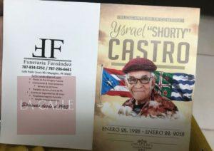 Información oficial del sepelio… Llega mañana a Puerto Rico el cuerpo de Shorty Castro