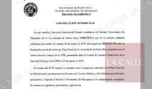 """Senado Académico del RUM condena """"degradación"""" a la que fue sometido el Colegio en el Plan Fiscal de la UPR (Documento)"""