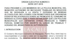 """Alcalde prohíbe a policías municipales de Mayagüez tener """"part times"""" en negocios de venta de bebidas (Documento)"""