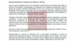 Reacciones a situación en Mayagüez… RUM decreta receso y centros Head Start que están en residenciales públicos suspenden labores hasta el lunes (Documentos)