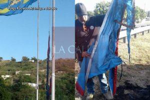 En la PR-116…. Queman la bandera puertorriqueña en la entrada hacia Guánica