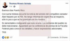 """Rivera Schatz dice estar """"triste"""" con el arresto de Abel Nazario"""